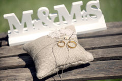 Wedding Rings Cushions Stock Images