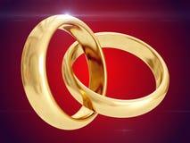 Wedding rings. 3D rendering Royalty Free Stock Photos
