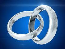 Wedding rings. 3D rendering Stock Images