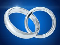Wedding rings. 3D rendering Stock Photos