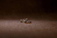 Wedding rings on dark background Royalty Free Stock Photo