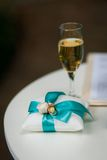 Wedding rings on the decorated pillow Royalty Free Stock Photos