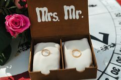 Wedding rings in decorative box. With flowers Stock Photos