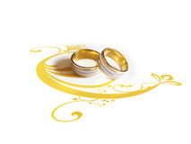 Wedding rings with decorative illustration Stock Photos
