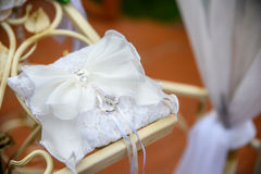Wedding rings on a decorative pillow the nature Stock Image