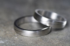 Wedding rings in detail. Wedding rings of platinum in close up Stock Photos