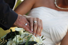 Wedding rings detail stock photography