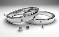 Wedding rings with diamond. Rendering white silver wedding rings wiht diamond Royalty Free Stock Images