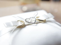 Wedding rings with diamonds Heart Stock Photos