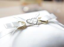 Wedding rings with diamonds Heart Stock Photos