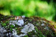Wedding rings with diamonds Royalty Free Stock Photo