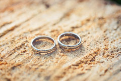 Wedding rings with diamonds on a wooden saw cut Royalty Free Stock Photography