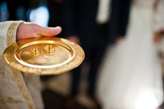 Wedding rings on discus at hand Stock Images