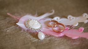 Wedding rings and feathers stock footage