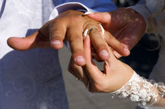 Wedding rings on fingers. Wedding rings on the fingers of young, married and start a family, the newlyweds exchange rings, the bride wears the ring on the finger Stock Image