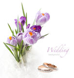 Wedding rings and flower Royalty Free Stock Photography
