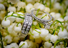 Wedding rings and flowers. Wedding rings arranged on top of lily of the valley flowers Stock Images