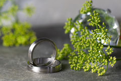 Wedding rings with flowers. Wedding rings in silver on a slate with green flowers Stock Photo
