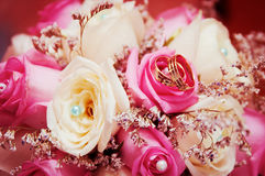 Wedding rings  on flowers. Wedding rings for a newly-married couple on flowers Stock Images
