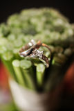 Wedding rings on flowers Royalty Free Stock Image