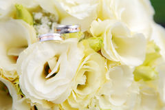 Wedding Rings with flowers Stock Image