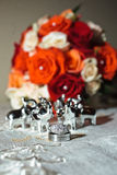 Wedding rings and flowers royalty free stock image