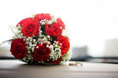 Wedding Rings and Flowers royalty free stock photos