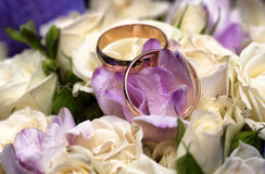 Wedding  rings flowers. Preparing for the wedding, rings, flowers, dress, cufflinks, festively packaged Royalty Free Stock Images