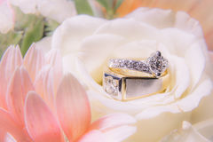Wedding rings on flowers. Two wedding rings on bouquet of flowers Stock Photography