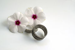 Wedding Rings with Flowers. Two wedding rings and two flowers that symbolize the youthfulness and beauty of a young married couple Royalty Free Stock Photos