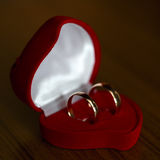 Wedding rings, gift box for  bride. Royalty Free Stock Photos