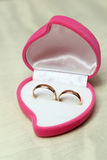 Wedding rings, gift box for  bride. Stock Photos