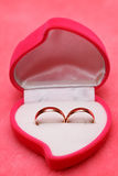 Wedding rings, gift box for bride. Stock Photo