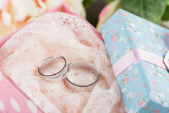 Wedding rings in gift box Royalty Free Stock Images
