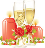 Wedding rings in a glass of champagne royalty free stock image