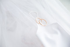 Wedding rings with glove on veil Stock Images