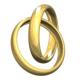 Wedding rings in gold 3D Stock Photography