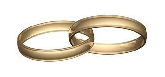 Wedding Rings Gold. Two gold wedding rings or bands linked or joined. Great reflections isolated on white background. Clippong path included. Smooth gold with Stock Photo