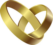 Wedding rings. Gold wedding rings connected love Royalty Free Stock Images