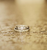 Wedding rings on gold Royalty Free Stock Image