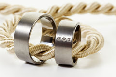 Wedding rings on golden rope Stock Image