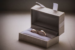 Wedding rings in grey box Royalty Free Stock Images
