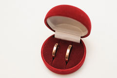 Wedding rings for groom and bride Royalty Free Stock Photos