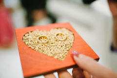 Wedding rings for groom and bride Stock Photo