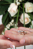 Wedding rings in hand Stock Images