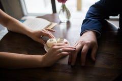 Wedding rings. Wedding, hand with wedding ring Stock Photo