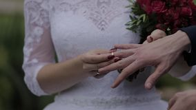 Wedding rings on the hand of young people.  stock footage