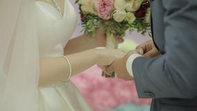 Wedding rings on the hand of young people.  stock video footage
