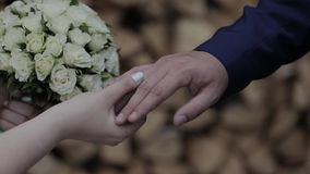 Wedding rings on the hand of young people.  stock video