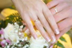 Wedding rings on a hands Stock Photography